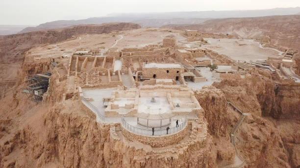 masada - luchtfoto afbeelding - israël stockfoto's en -beelden