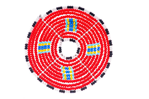 Masai beaded mats from East Africa. stock photo