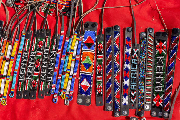 masai hand made wrist bangles - kenyan culture stock photos and pictures