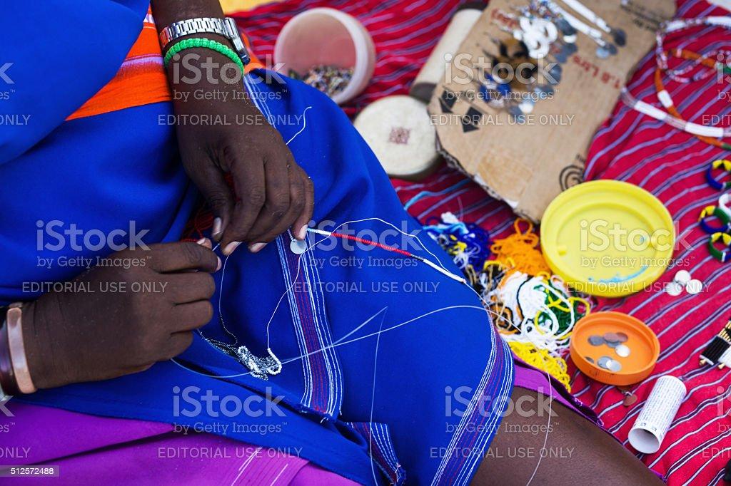 Masai handmade acessories stock photo