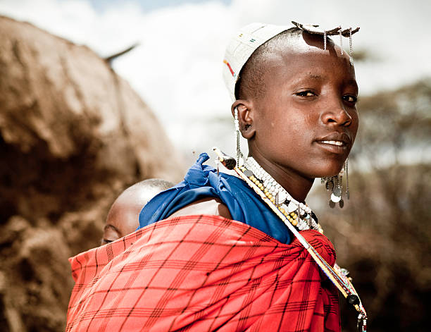 Masai Mother and Child in Africa stock photo