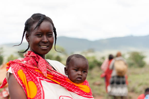 Masai Mother and Child stock photo