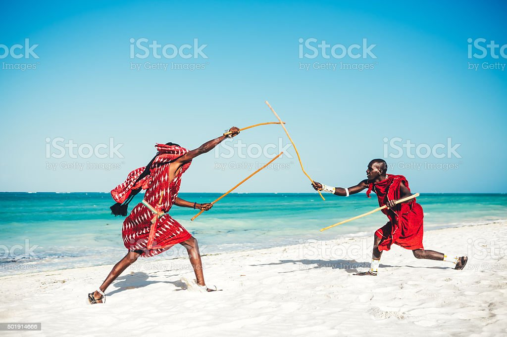 Masai People Demonstrating Their Fighting stock photo