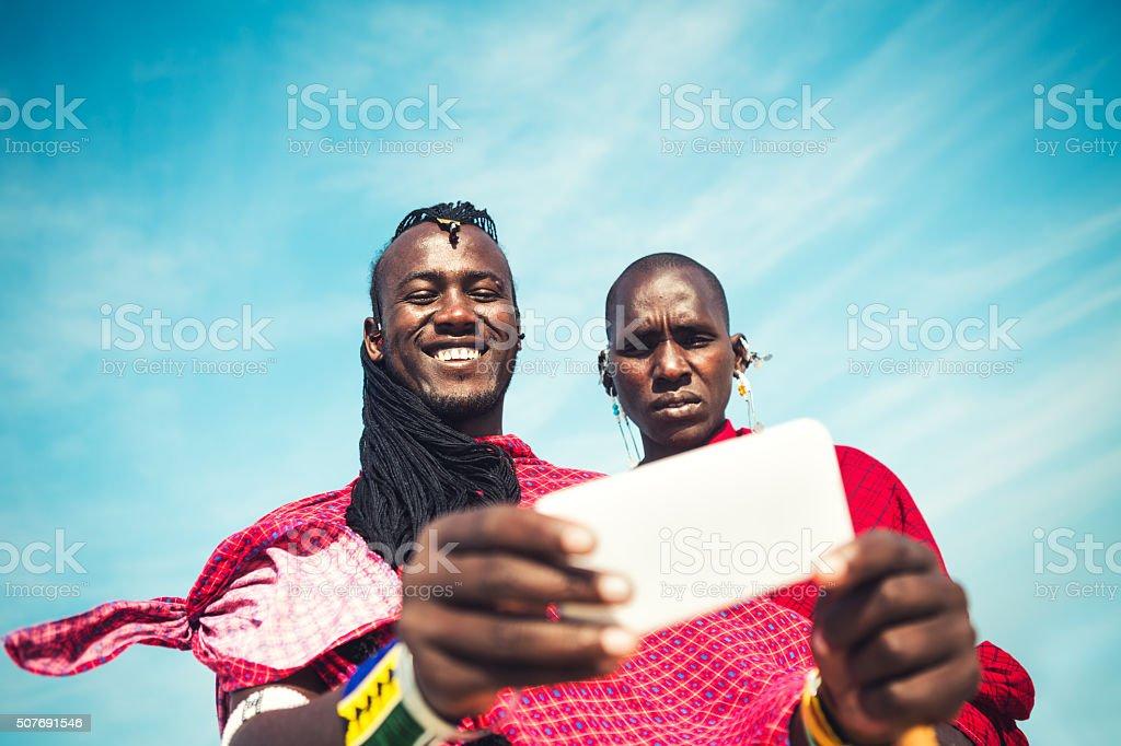 Masai Taking A Selfie stock photo