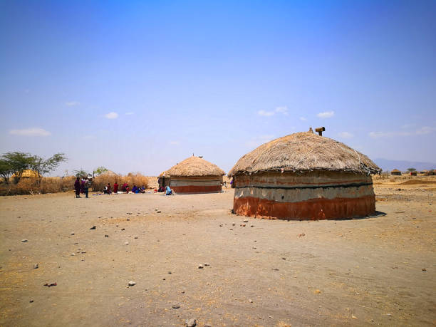masai tribe village - kenyan culture stock photos and pictures