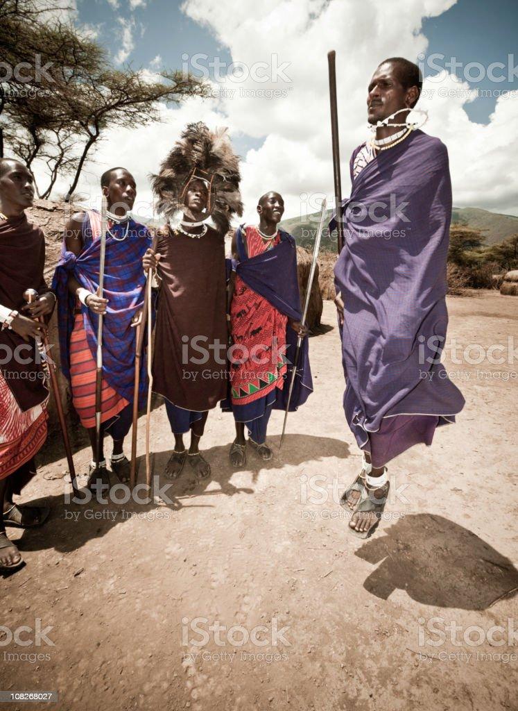 Masai Tribe Warrior Dance stock photo