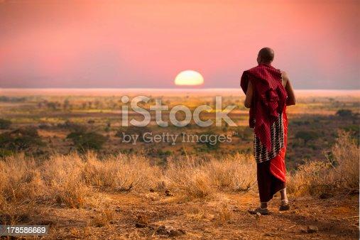 istock Masai warrior at sunset. 178586669