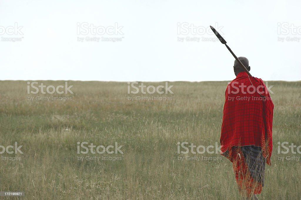 Masai Warrior near Lake Manyara, Tanzania stock photo