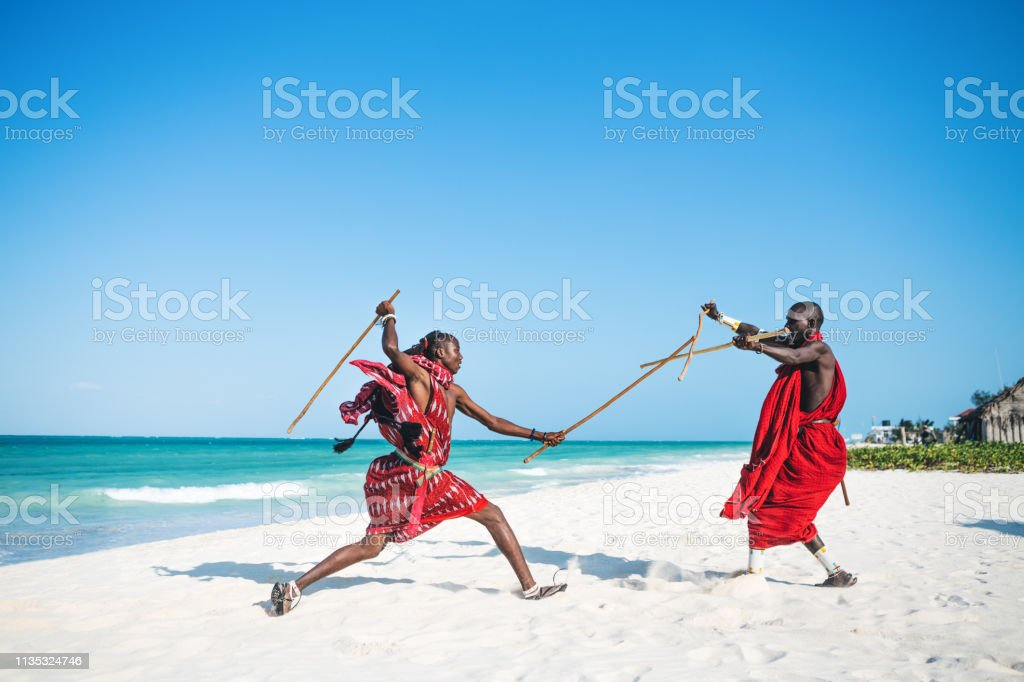 Masai Warriors Fighting stock photo
