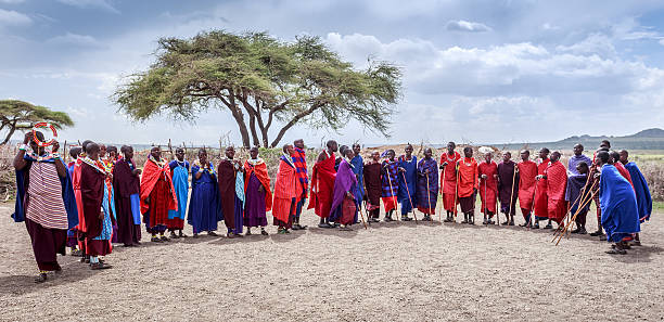 Masai welcome dancing stock photo