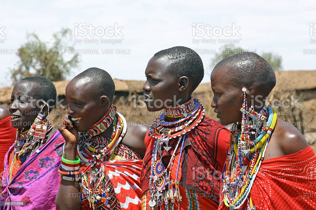 Masai Women and Jewelry stock photo