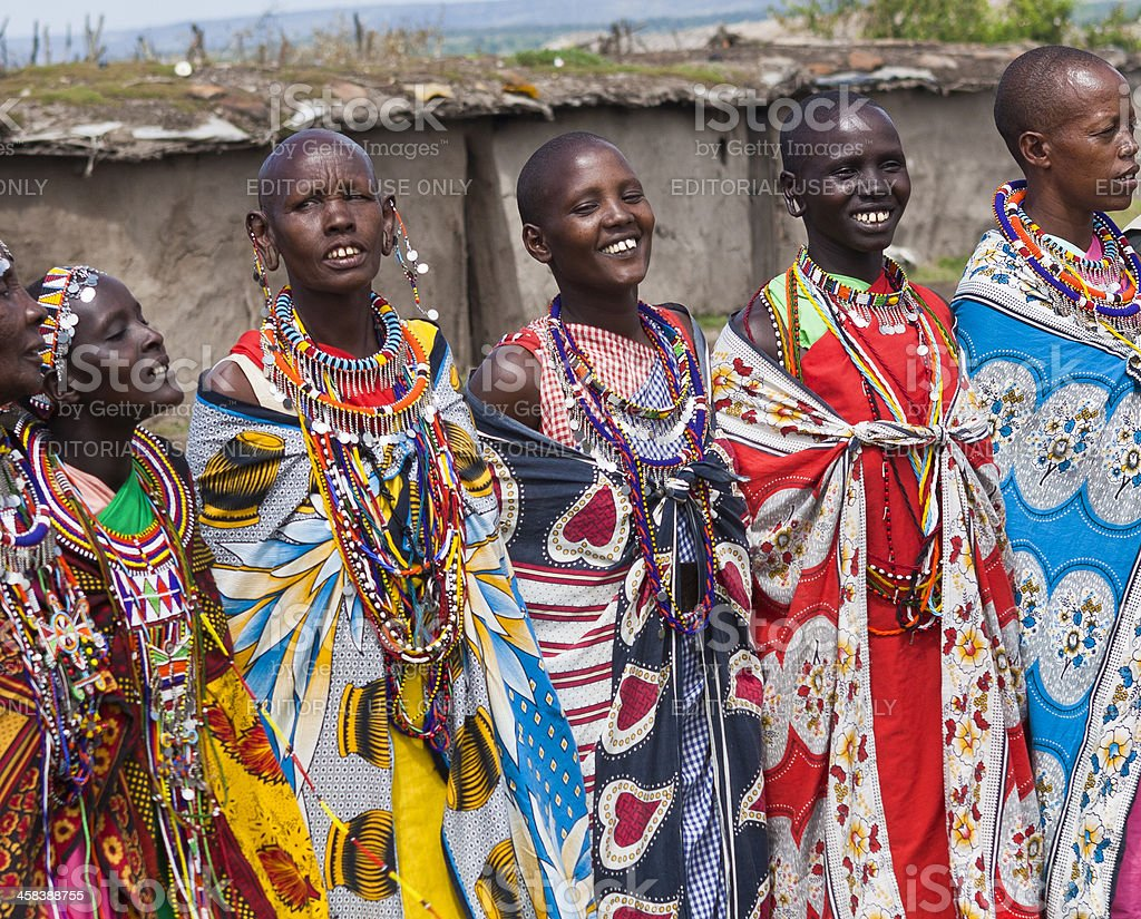 Masai Women Dancing and Singing in Village royalty-free stock photo