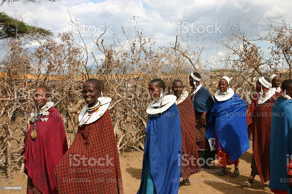 Masai Women wearing traditional jewelry, Tanzania stock photo