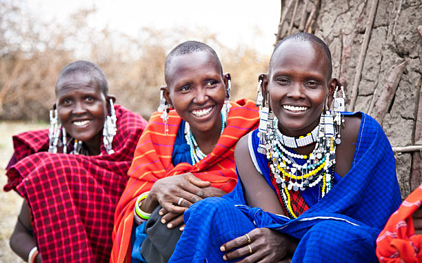 masai women with traditional. tanzania. - kenyan culture stock photos and pictures