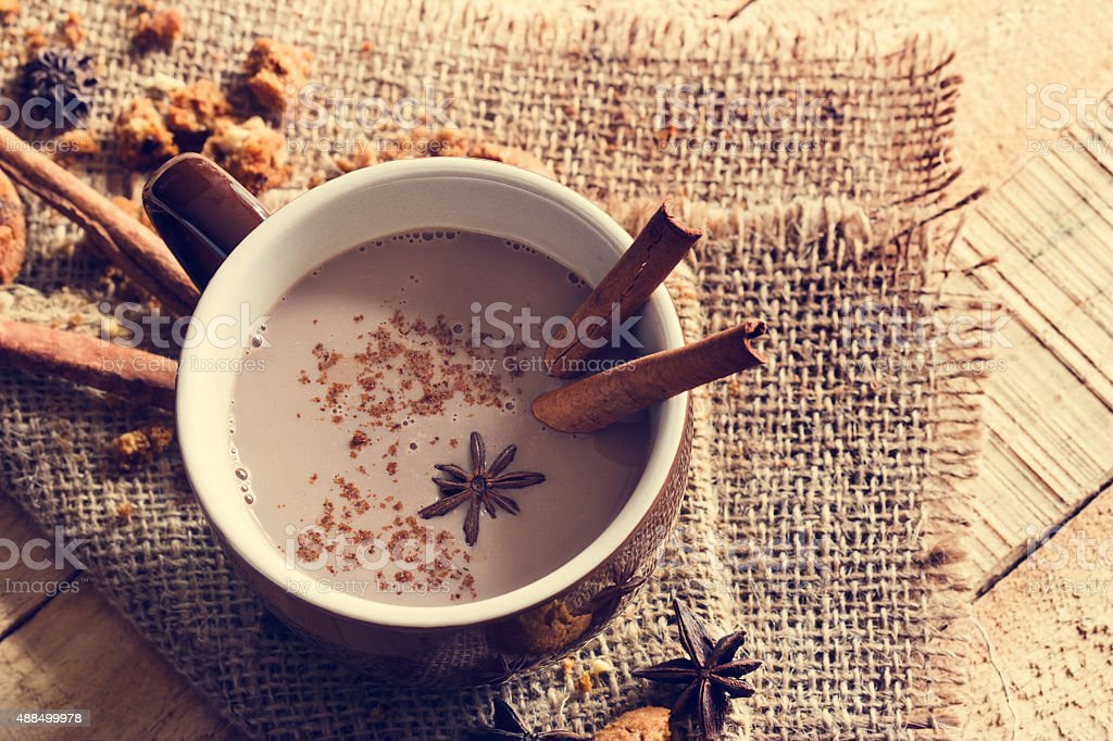 masala chai chocolate with spices and star Anise stock photo