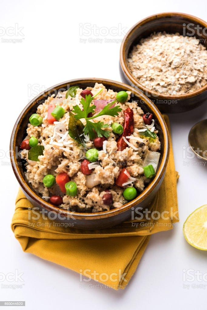 Masala Oats Upma is a healthy breakfast menu from India stock photo