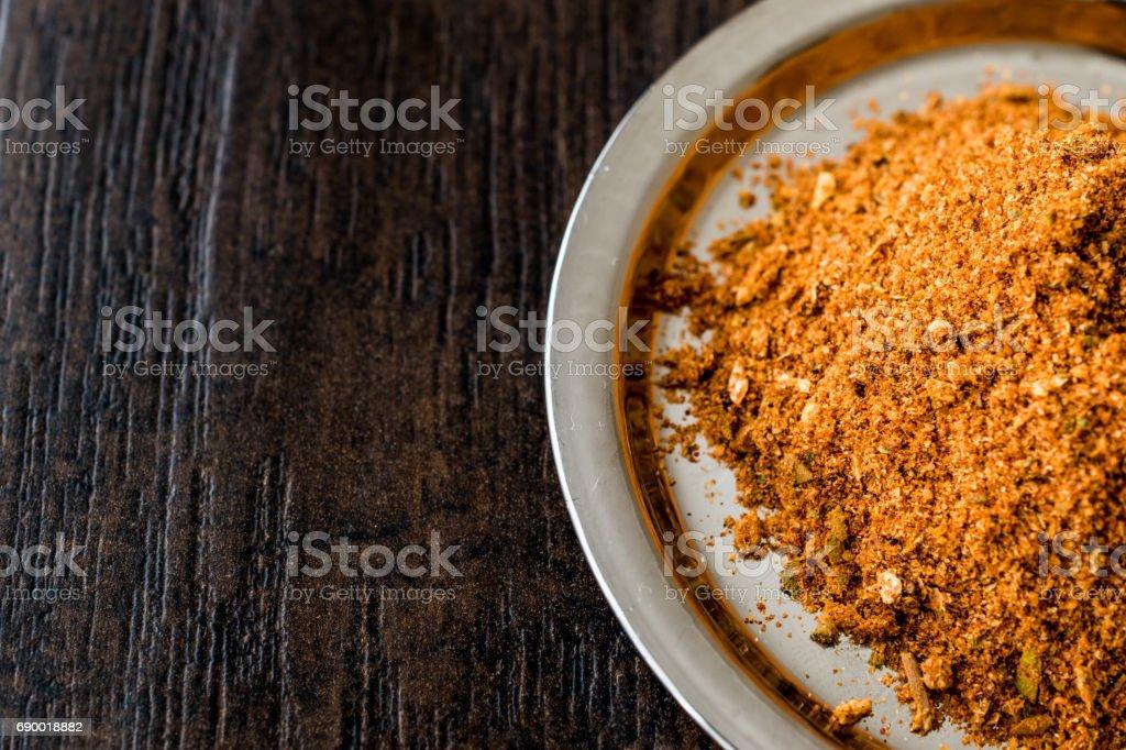 Masala Powder on silver tray / Chicken spice / Tavuk Baharati. stock photo