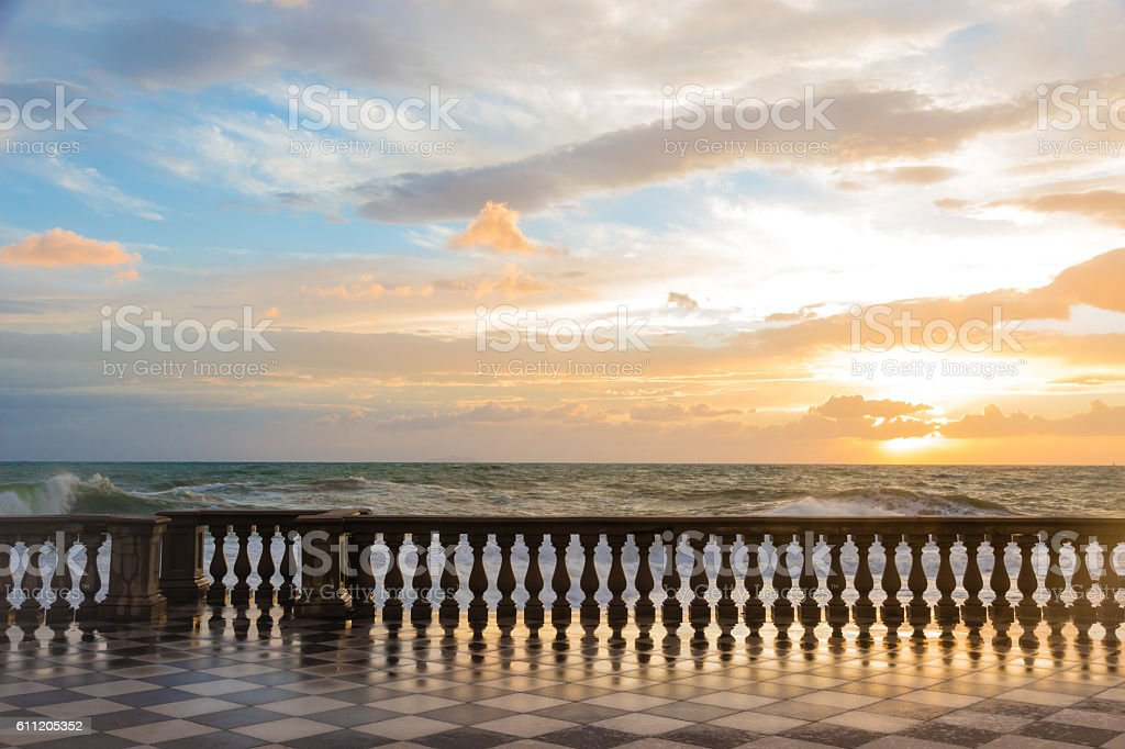 Mascagni Terrace in Leghorn, Italy stock photo