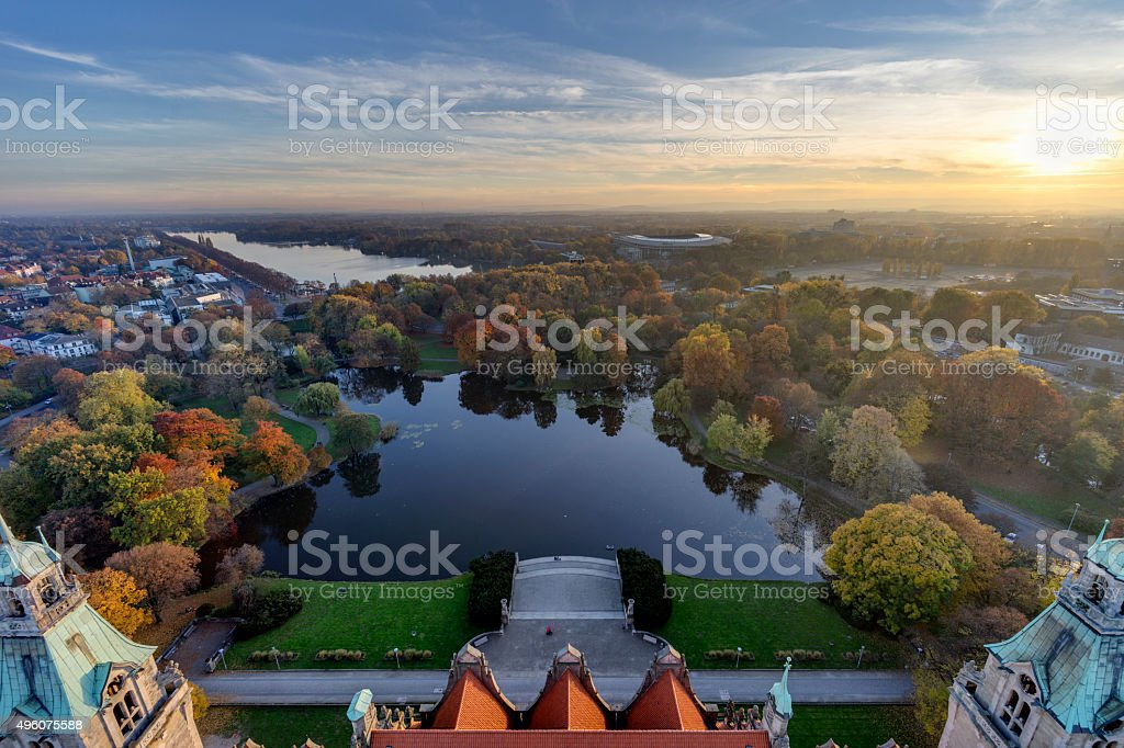 Maschsee. Aerial view of Hannover. stock photo