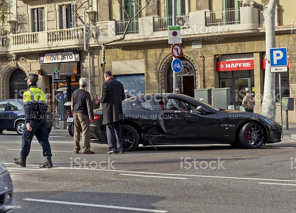 Maserati car crash in Barcelona royalty-free stock photo