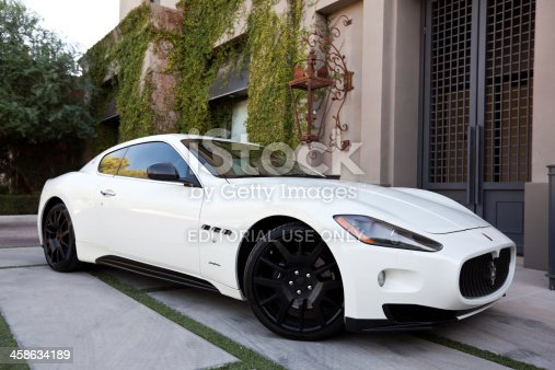 Scottsdale, United States - October 20, 2011: A photo of a parked white Maserati Gran Turismo coupe. The Gran Turismo's design was based off of Maserati's well known sedan the Quattroporte.