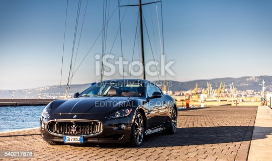 Muggia, Italy - October 2, 2013: MUGGIA, ITALY MARCH 16, 2013: Photo of a exhibition of Maserati GranTurismo S . The Maserati GranTurismo is a two-door, four-seat coupe produced by the Italian car manufacturer Maserati.