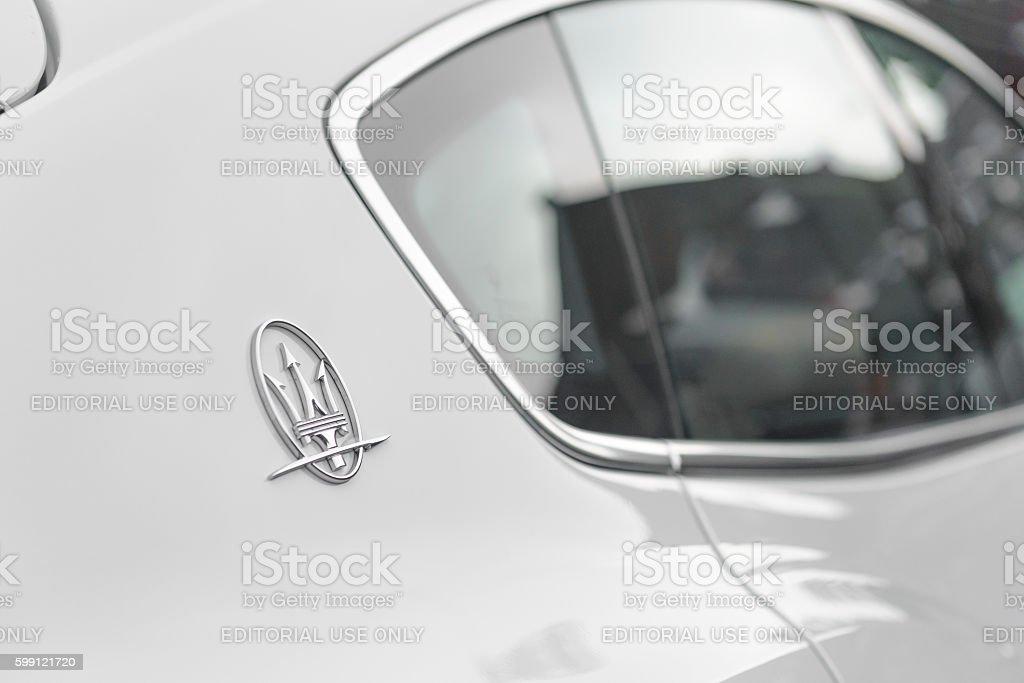 Maserati Levante Italian luxury SUV detail stock photo