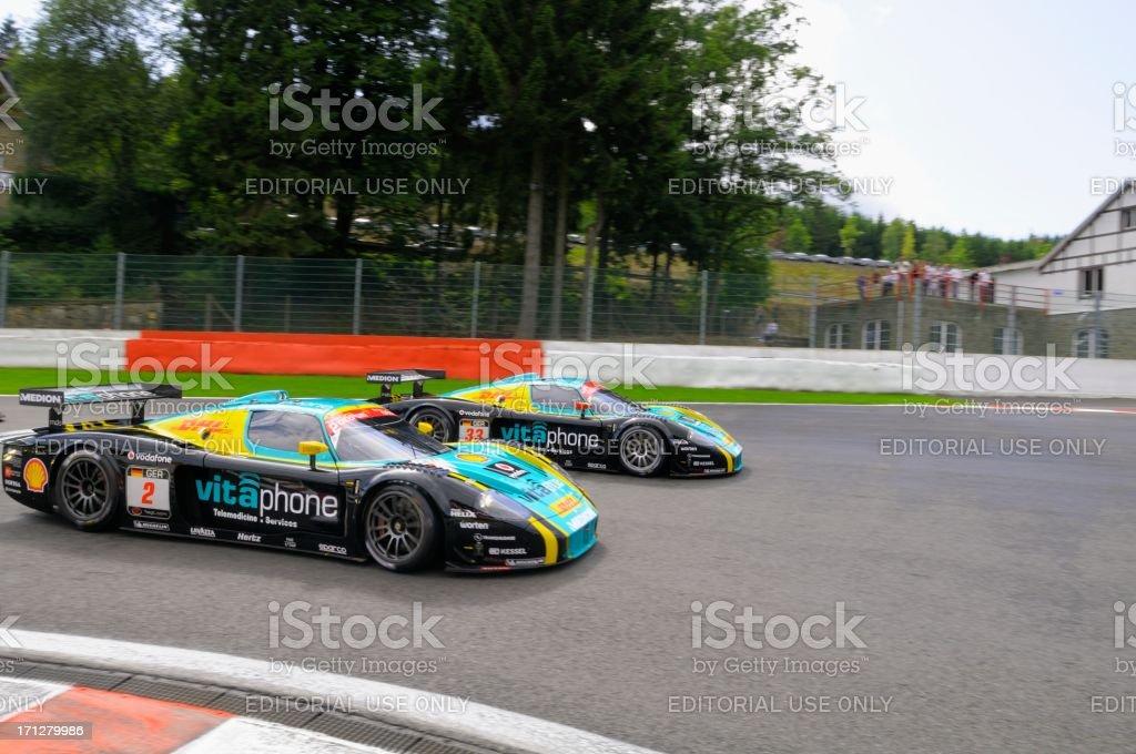 Maserati MC12 Corsa race car at the race track stock photo