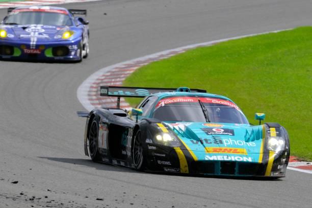 maserati mc12 corsa race car at the race track - spa belgium stock photos and pictures