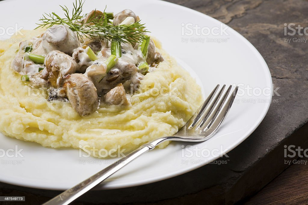 mash potatoes with mushroom stock photo