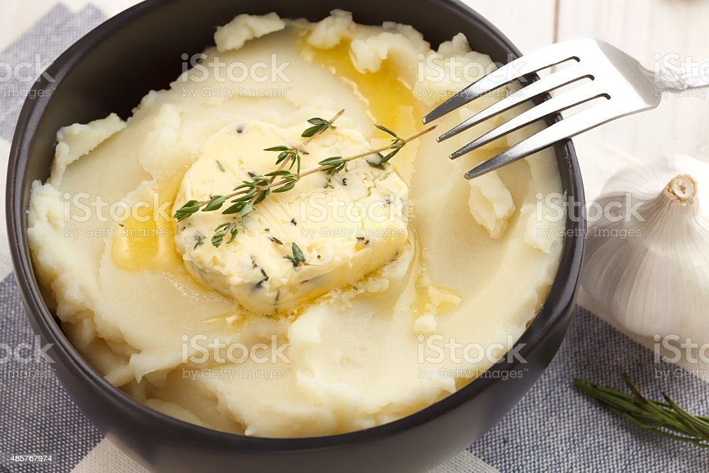 mashed potato compound butter herb baguette thyme rosemary coriander oregano stock photo