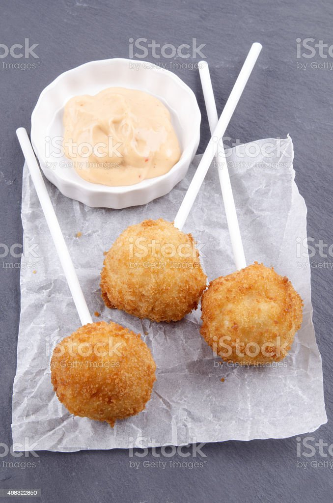 mashed potato pops and spicy mayonnaise stock photo