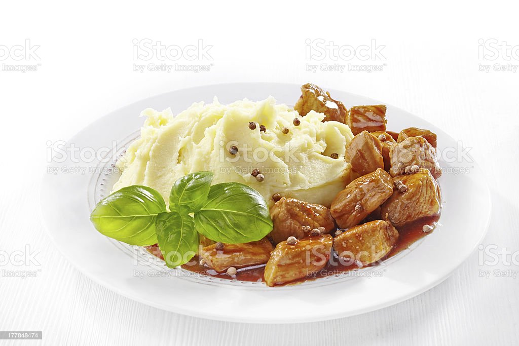 mashed potatoes and meat stew royalty-free stock photo