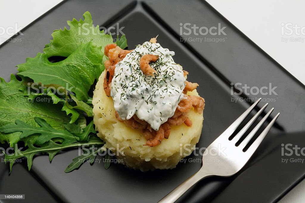 Mashed potatoes with shrimps and creamy cheese royalty-free stock photo