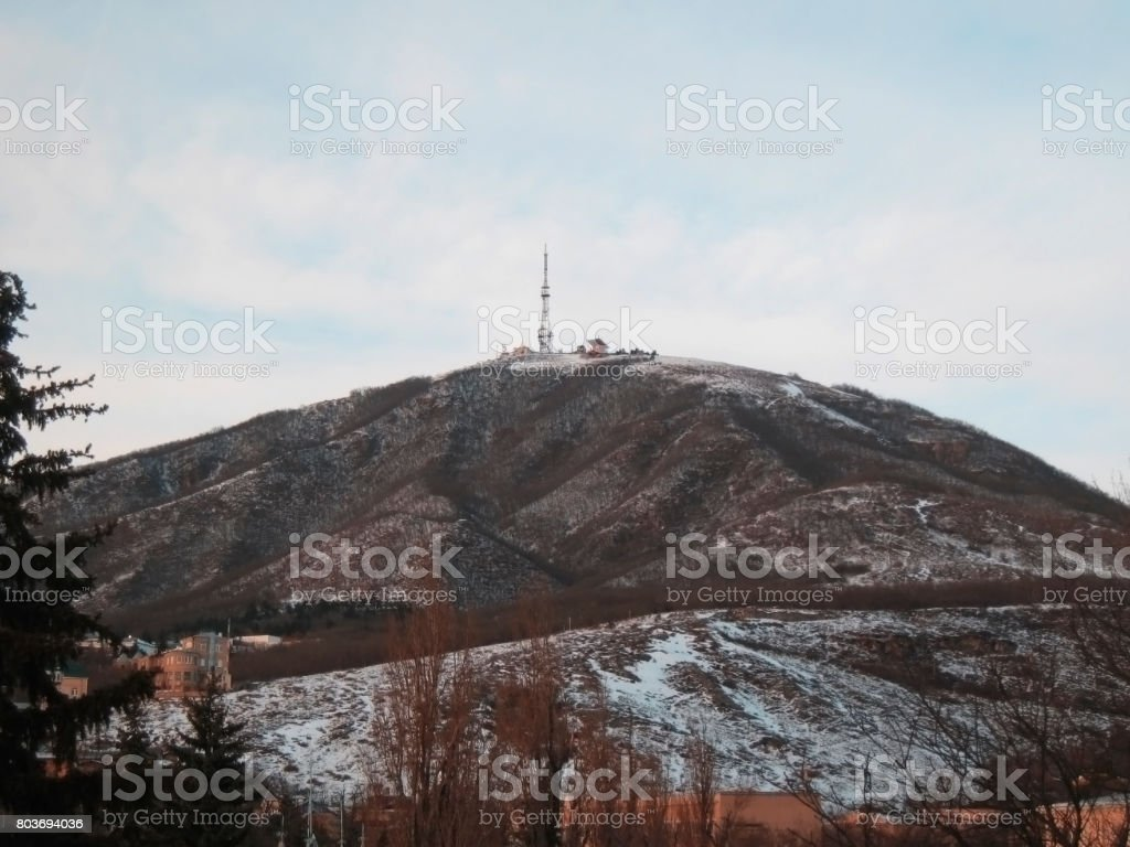 Mashuck mountain and winter landscape. Pyatigorsk panorama stock photo