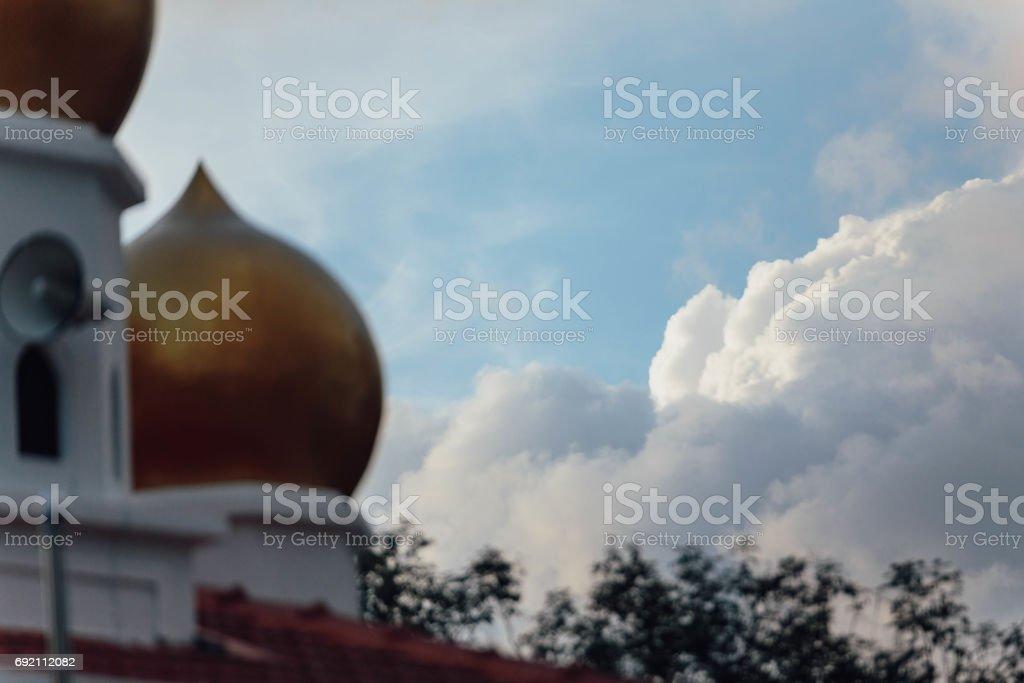 Masjid Bukit Bendera (Penang Hill Mosque) at evening from Penang Hill at George Town. Penang, Malaysia. stock photo