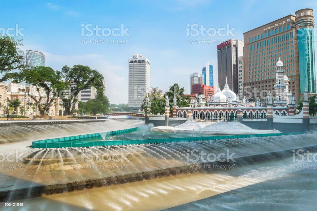 Masjid Jamek mosque which is located at the heart of Kuala Lumpur city. stock photo