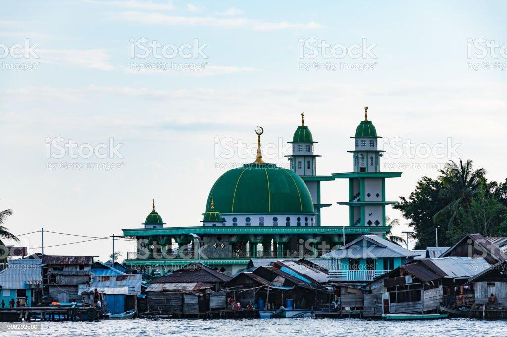 Masjid Nurul Huda Mosque in Yellu village at sunset, east Misool, Indonesia stock photo