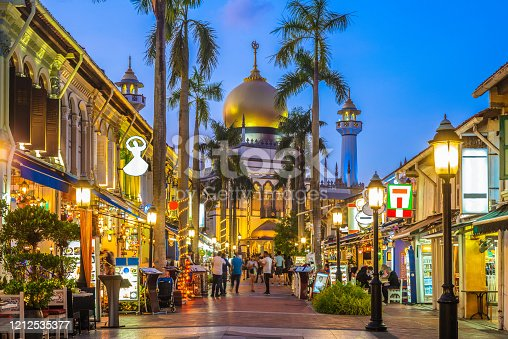 street view of singapore with Masjid Sultan at night