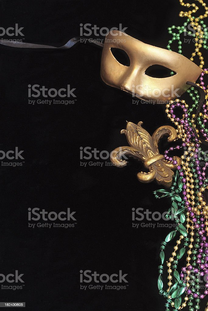 Mask and Beads on Black royalty-free stock photo