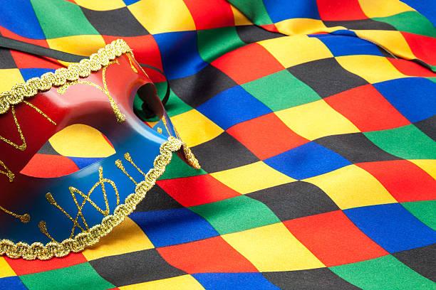 Máscara y paño de arlequín - foto de stock