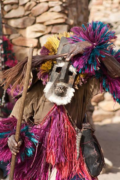 Mask and the Dogon dance, Mali. stock photo