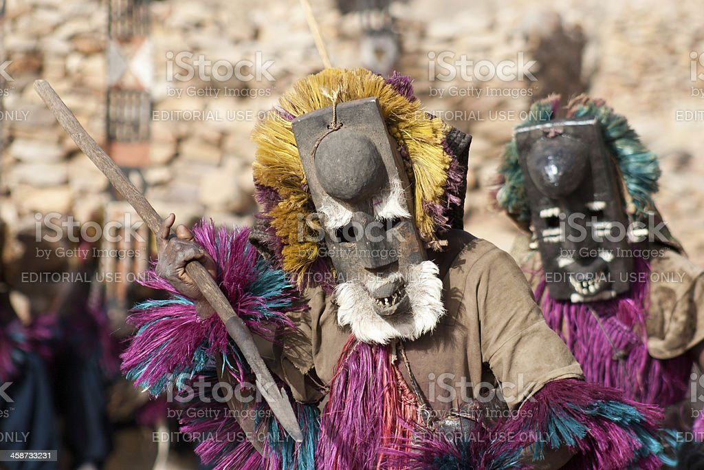 Mask and the Dogon dance, Mali. stock photo