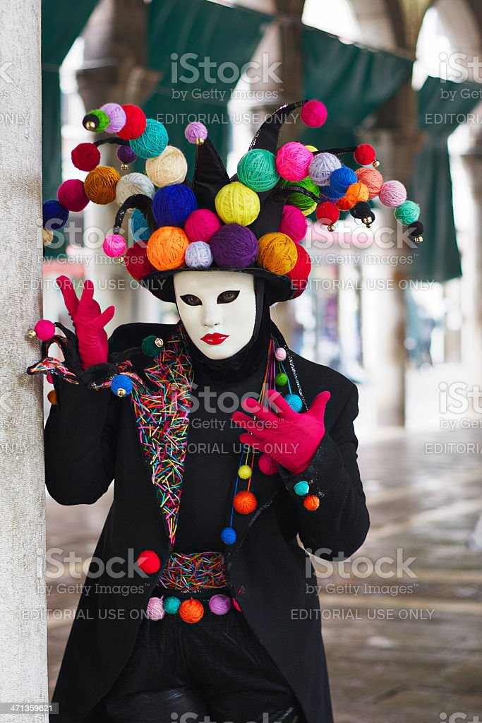 Mask at 2012 Venice Carnival in Rialto market stock photo