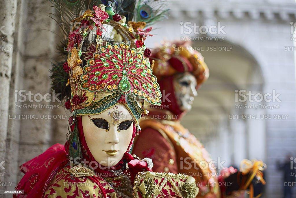 Mask at Venice Carnival 2013 in St. Mark's basin stock photo