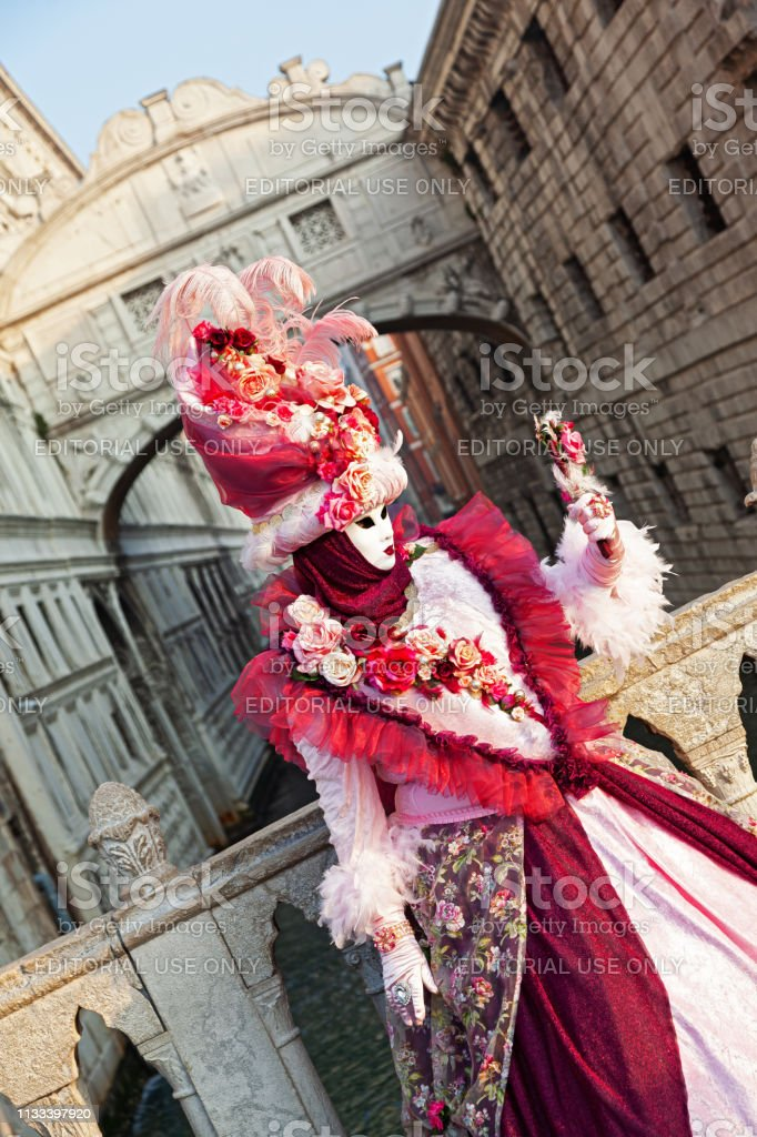 Mask At Venice Carnival 2019 Stock Photo - Download Image