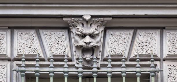 Mask of stone stock photo