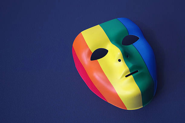 LGBT Mask With Dark Blue Background stock photo