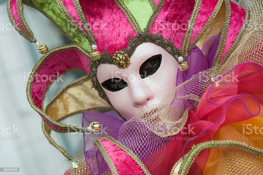 Mask with jester costume at Carnival in Venice (XL) stock photo