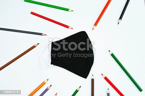 mask with pencils on a white background. High quality photo